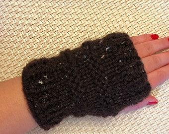 Knit fingerless gloves,brown knit fingerless gloves.