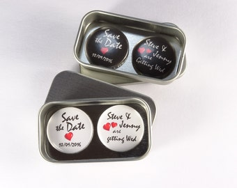 Wedding Personalised Custom Wedding Save The Date Magnet Gift Set, including Gift Tins Larger quantities available Handmade