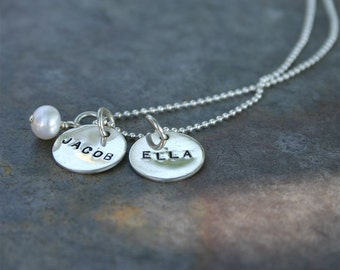 Names and a Pearl - Sterling Silver Hand Stamped Personalized Name Necklace