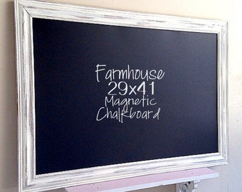 Farmhouse Kitchen Decor FRAMED CHALKBOARD Mom Organizer White Distressed Decor Rustic Chalkboard Chalkboard White Wash Barnwood Wall Decor