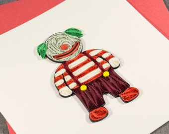 3D Handmade Halloween Card Blank Quilled Clown Quilling Halloween Card