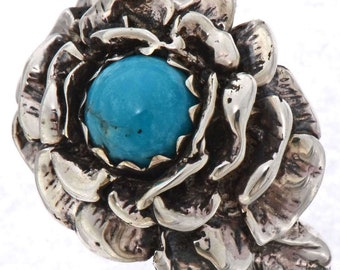 Ladies Turquoise Sterling Ring Navajo Sizes 6 To 9