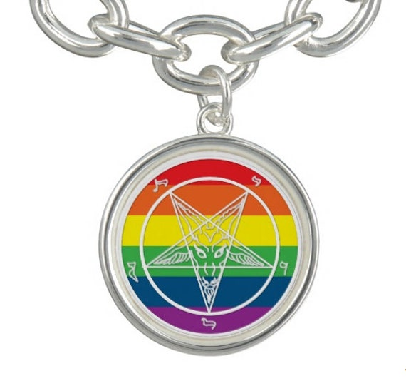 Baphomet Rainbow Pentagram charm, with or without bracelet