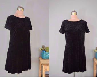 Vintage 90s Black Crushed Velvet Stretch Short-Sleeved Dress // Sz M/L