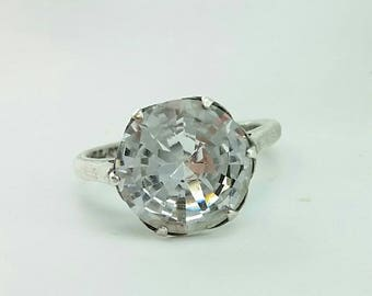 Antique Art Deco Sterling Silver 11mm, 5 Carat Rock Crystal Solitaire Statement Engagement Ring Beautiful Dynamic Cut