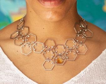 Hexagon Bib Necklace, Silver Tone with Citrine