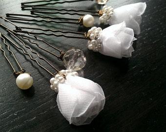 SALE Bridal Hair Pins White Roses Crystals Pearls Vintage Wedding