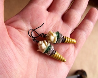 Earrings, tribal,ceramic drops,glass disc, flower beads *  765 b 74