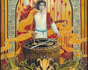 The Magician Tarot Art Original Painting Psychedelic Art Nouveau Bohemian Goddess Art