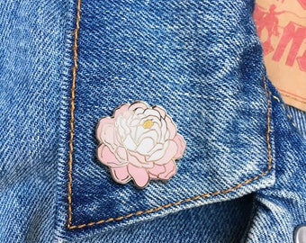 Peony Pin, Hard Enamel Pin, Jewelry, Art, Flower, Gift (PIN86)