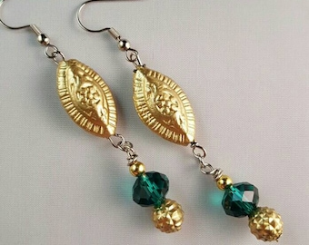 Eclectic Dangle Earrings with Green Glass Beads - Bohemian Earrings