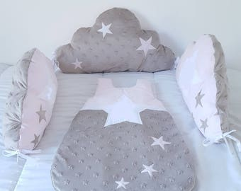 sleeping bag 0-6 month baby girl, beige and pink pastel star pattern.