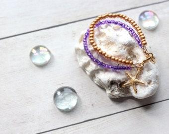 Mermaid Birthday Girl Party Favor, Little Girl Gift, Beach Theme Flower Girl Bracelet, Double Strand Seed Bead Bracelet, 1st Birthday Gift