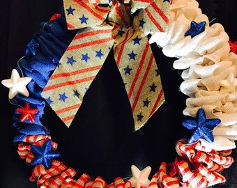 Our Flag Was Still There... 4th of July Red White and Blue Burlap Wreath Patriotic Wreath