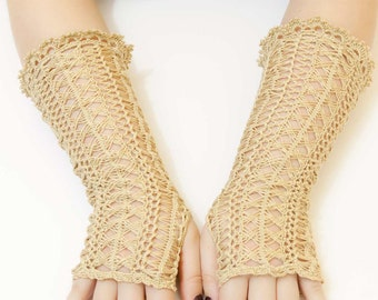 Long Lace Crochet Mittens, Colour to choose from, Fingerless Gloves