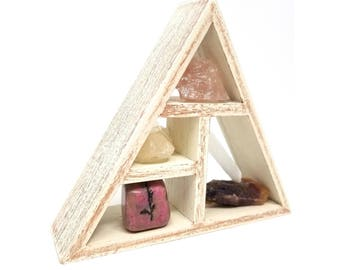HOPE & HEALING Crystal Set / Natural Energy Tumbled Stones and Geometric Display Shelf Home Decor Decorating Kit - 22
