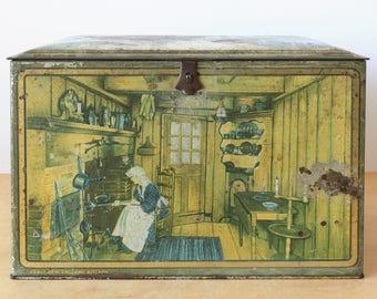 Vintage Biscuit Tin by Canco Rustic Farm house Decor Storage Vintage Kitchen