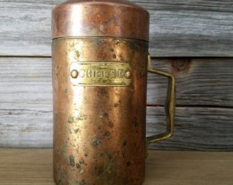 Vintage Copper Cheese Shaker, copper decorations, rustic decor, farmhouse chic