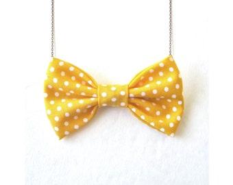 Yellow Small Polka Dot - Bow Tie Necklace Lemon Dots Women Bowtie Retro