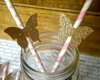 Butterfly  Party, Pink and gold paper straws, Butterfly  Straws, Birthday party , First birthday, Bridal shower , QTY 10