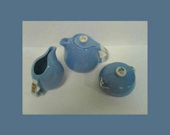 Vintage Hall's Rose Parade Tea Pot Creamer and Sugar Bowl