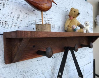 "storage wood coat rack barnwood coat hanger rustic home decor spike rack barnwood rack rustic coat hooks entry rustic shelf USA 40"" 7 Spikes"