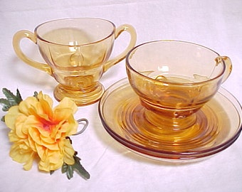 1930s Amber Moondrops by New Martinsville Glass, 4 Pieces Depression Era Dinnerware, Vintage Collectible Glass Serving Items