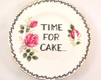 Time for Cake Vintage Floral Rose Pink Ornamental Side Plate Saucer Decorative Display Dish wall decor Pudding Desert Lover Slimming World