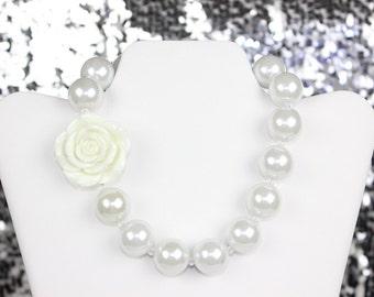 Infant Toddler Chunky Beaded Flowergirl Pearl Necklace Flowergirl Gift, Wedding Gift, Flowergirl Jewelry, Baby Necklace Chunky Rose Necklace
