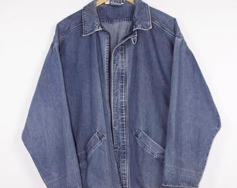 vintage 90s denim chore coat - kindle smocks  - jacket - L - XL
