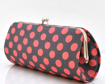 Ta Dot in Coral..Small Clutch Purse