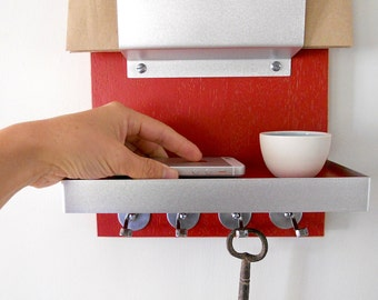 MAIL ORGANIZER: with Shelf and Key Hooks for Entry, Home, Office or Dorm.  Wall Mount for Small Spaces