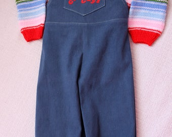 Corduroy overall and sweater Chucky Doll, Good Guys, chucky costume , corduroy pants, overalls
