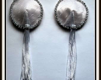 Burlesque Style Bridal Pasties in White Lace and Jeweled Crystals & Easy White Twirl Tassels