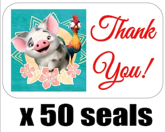 """50 Pua (Moana) Thank You Envelope Seals / Labels / Stickers, 1"""" by 1.5"""""""