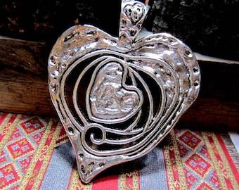 2 Rustic heart pendants antique silver jewelry making charms silver heart free form heart pendant 63mm x 77mm HP1-32 ( DD4)