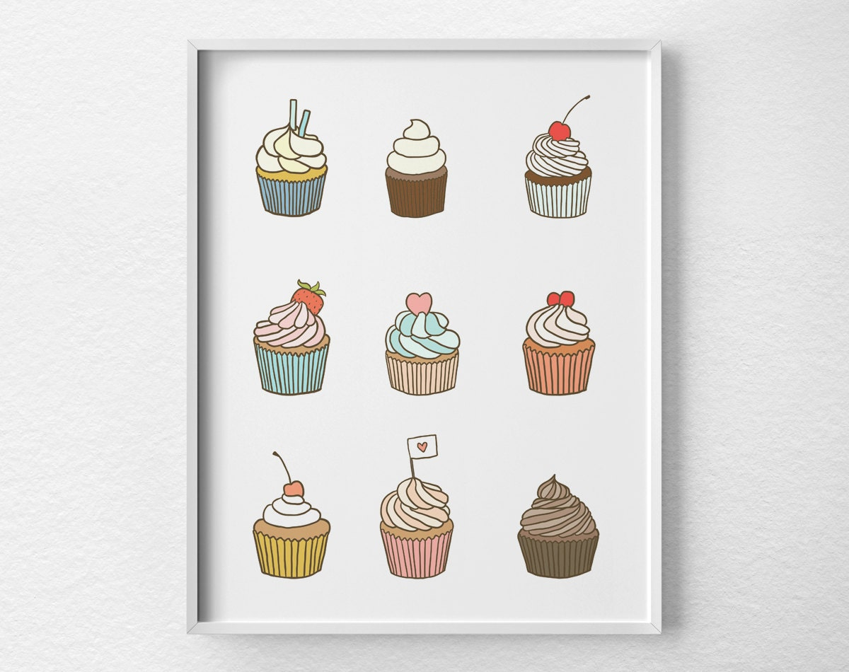 cupcake print cupcake poster cupcake art bakery decor