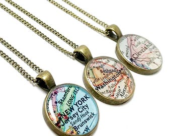 Personalized Vintage Map Necklace. You Pick City, State, or Country Worldwide. Location Necklace. Journey Jewelry. Journey Necklace