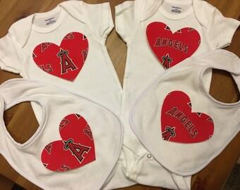 Anaheim Angels Heart Onesie and Bib Set