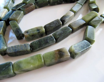 Natural Green Serpentine Beads, Square Tubes, 1 Strand 15 Inches, 17mm - 19mm, 22 Pieces, Polished Gemstones