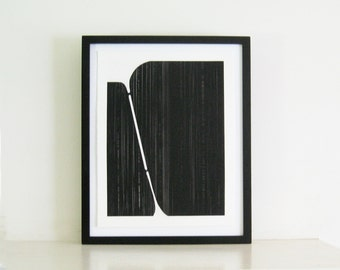 "Minimalist  Home Decor. Art Print . Black and White: Track 2 . Print Size 14"" x 18"". Unframed ."