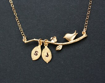 14K Gold Filled Personalized Birth blossom Branch with Initial Leaves Necklace - Delicate Cute look,  engraved initial necklace, sweet gifts