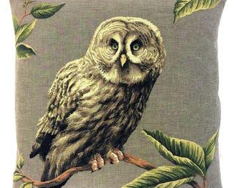Great Gray Owl Pillow Cover - Owl Lover Gift - Owl Decor - Gray Owl Throw Pillow - 18x18 belgian tapestry cushion - Gray Owl Gobelin cushion