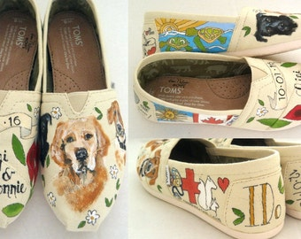 Bride's Love Story Wedding Shoes Gift for the Bride I DO Spring Wedding Wedding Flats Bridal Shoes Unique Wedding Shoes Hand Painted TOMS