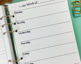 A5 Week on One Page printed planner insert - Wo1P - weekly pages - undated - graph paper - this week