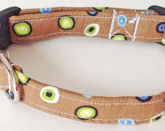 Brown Dog & Cat Collar with Multi Colored Polka Dots