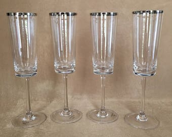 Champagne Flutes, Wedgwood, Platinum Trim, Danish Design, Mid Century, Luxury Stemware, Wedding, Toasting, Sleek, Elegant, Danish Modern