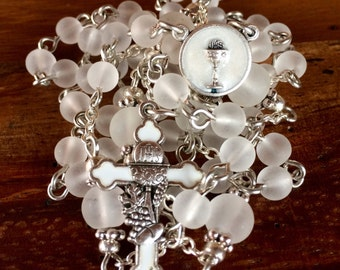 First Communion Rosary: Handmade with white frosted glass beads and holy communioin cross and station