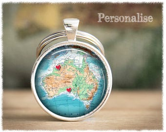 World map keychain gift for traveller vintage world map personalized keychain long distance friendship australia map keychain best friend gift personalized gumiabroncs Gallery
