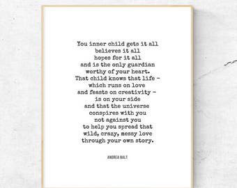 Poetry | Inner Child by Andrea Balt | Printable | 8.5x11 | 8x10